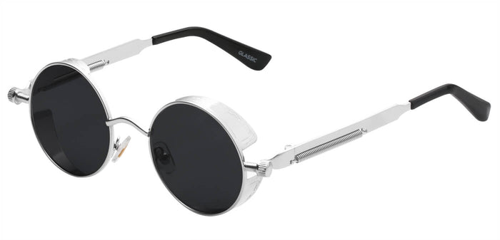 Silver Round Non Polarized Sunglasses For Men Riot Side