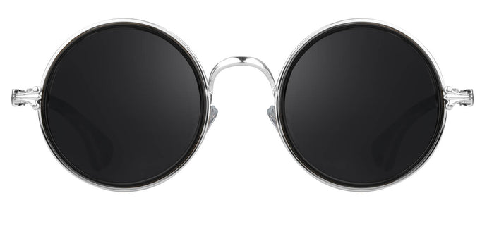 Silver Round Sunglasses for Men Muse Front