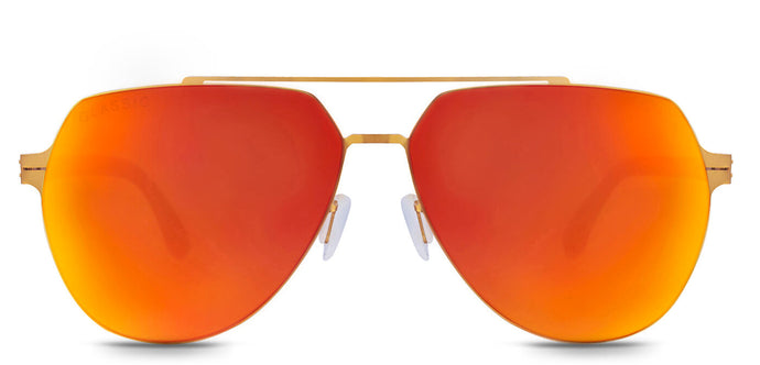 Sunset Orange Pilot Polarized Sunglasses for Men - Cockpit - Front Angle