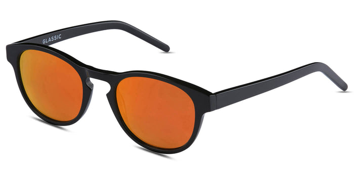 Sunset Orange Round Polarized Sunglasses for Men - Logan - Side Angle