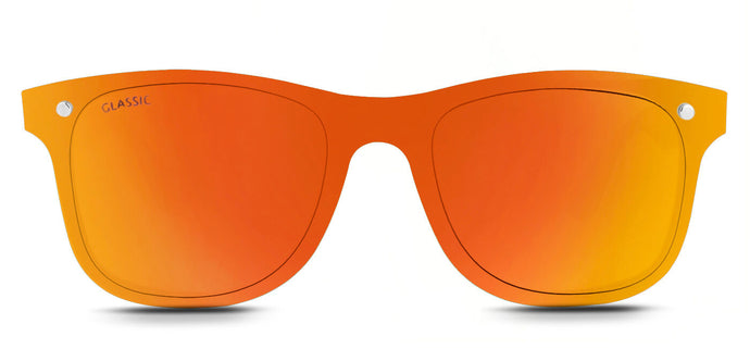 Sunset Orange Square Non Polarized Sunglasses For Men - Tony - Front Angle