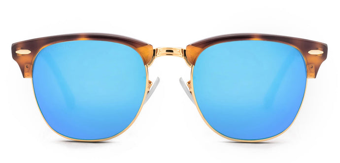 Tortoise Blue Square Polarized Sunglasses for Women - Stout- Front - Angle
