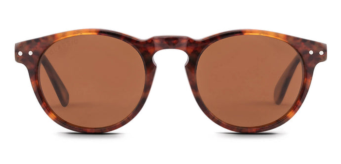 Tortoise Brown Round Polarized Sunglasses for Men - Arrant - Front Angle