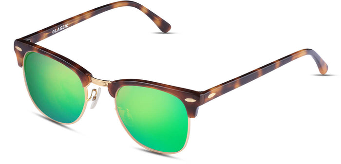 Tortoise Green Square Polarized Sunglasses for Men - Stout - Side Angle