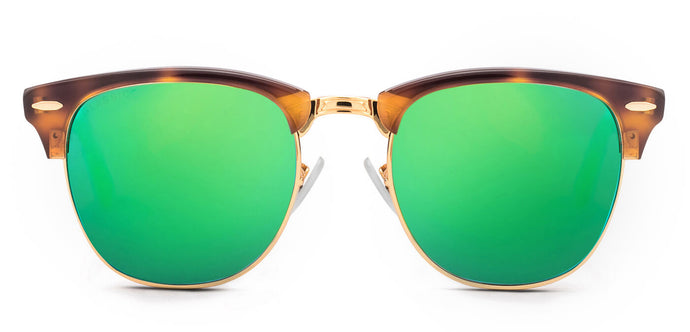 Tortoise Green Square Polarized Sunglasses for Women - Stout- Front - Angle