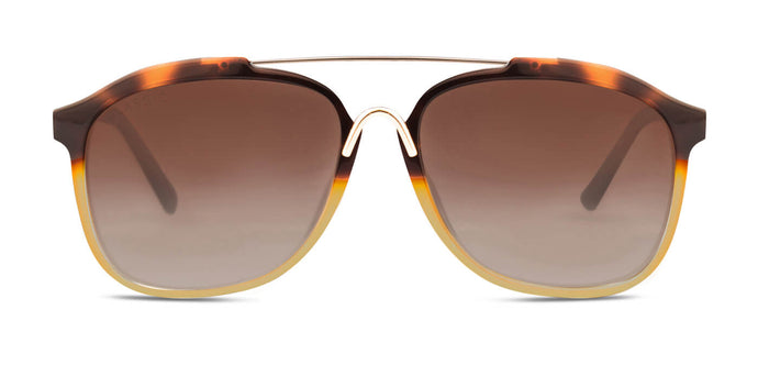 Walnut Brown Square Polarized Sunglasses for Women - Frank - Front Angle