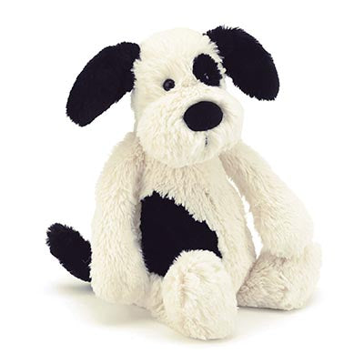 Jellycat- Bashful Puppy- Black and White