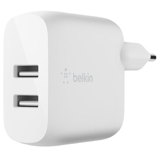 Belkin Dual Usb-A Wall Charger W/Lightning Cable 1M 24W White