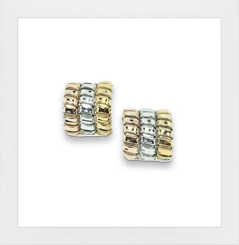 Tricolor Rolling tubogas stud earrings