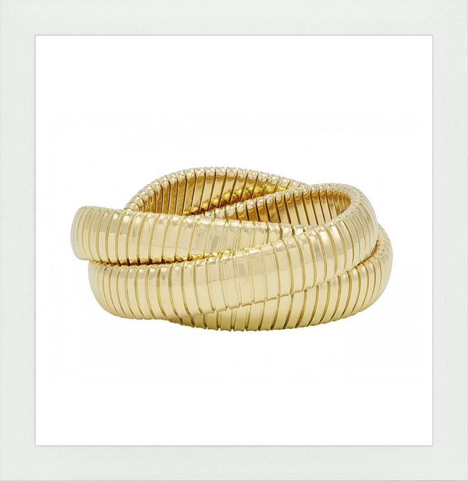 Tri Color Gold Rolling Bracelet in all yellow 18K Italian Gold by Carlo Weingrill since 1879 sold by Sidney Garber