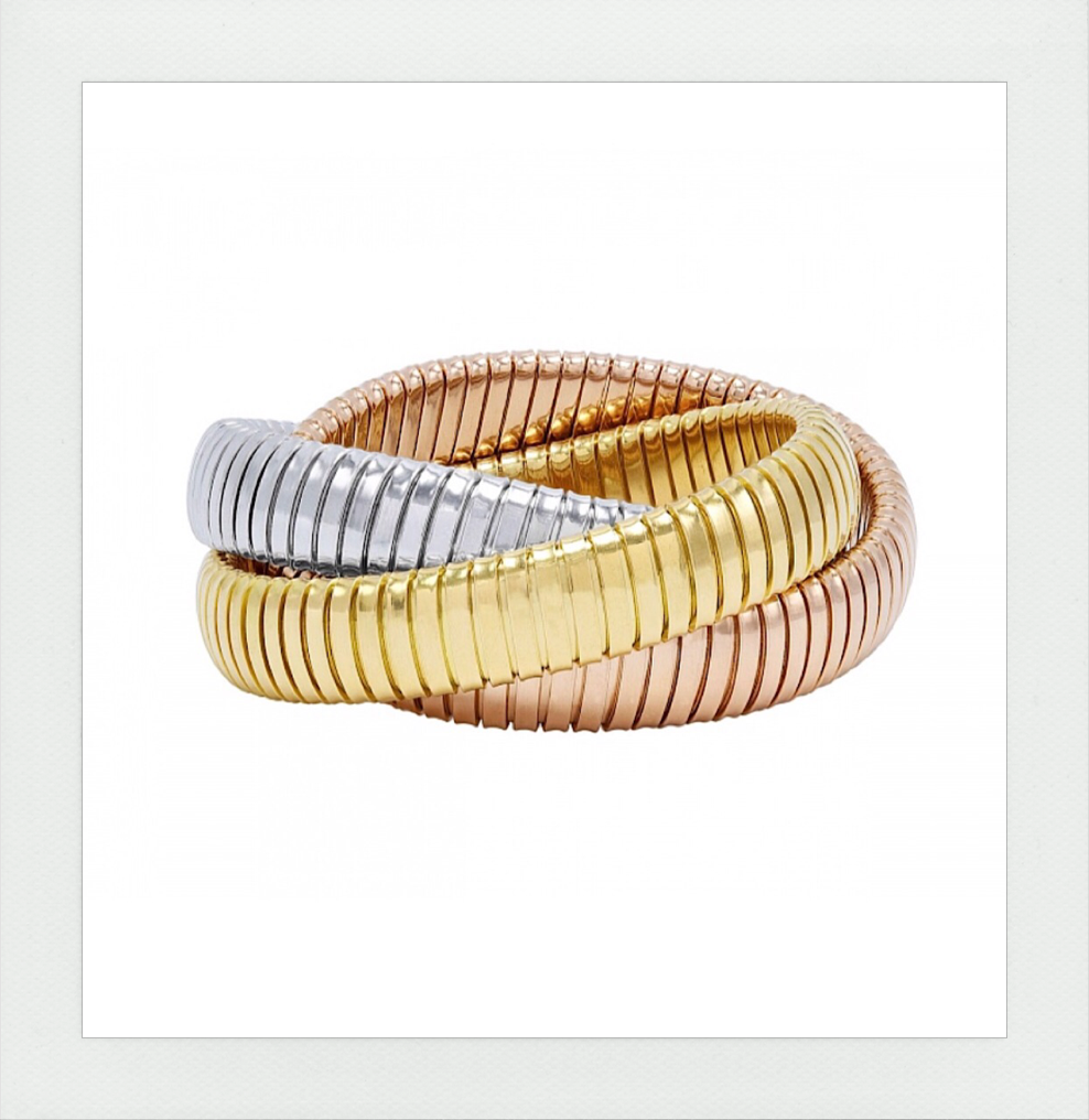 Rolling Bracelet in three colors 18K Gold Made in Italy original by Carlo Weingrill
