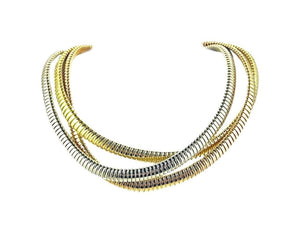 Tri-Color Gold tubogas necklace