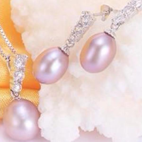 925 Silver Pearls and Zirconias Jewelry Set