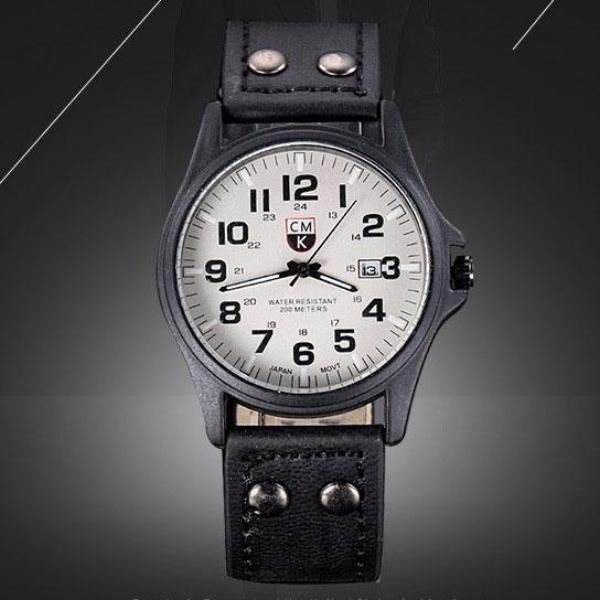 Men's Military Leather Watch
