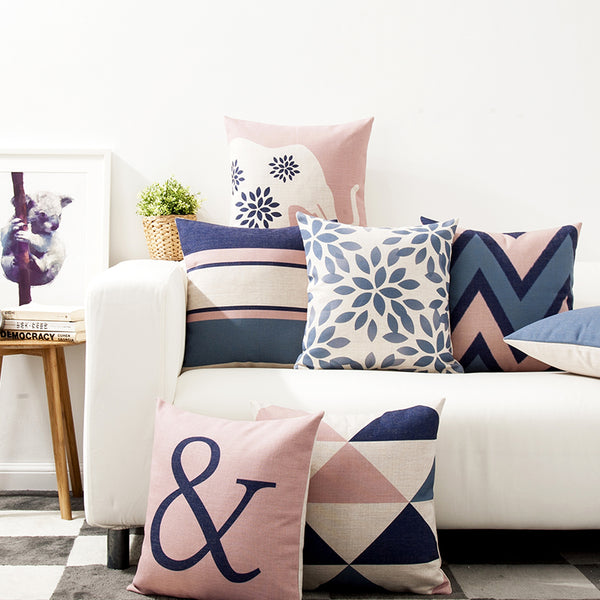 Blue and Pink Cushion Cover