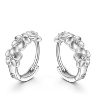 Silver Flower Hoop Earrings