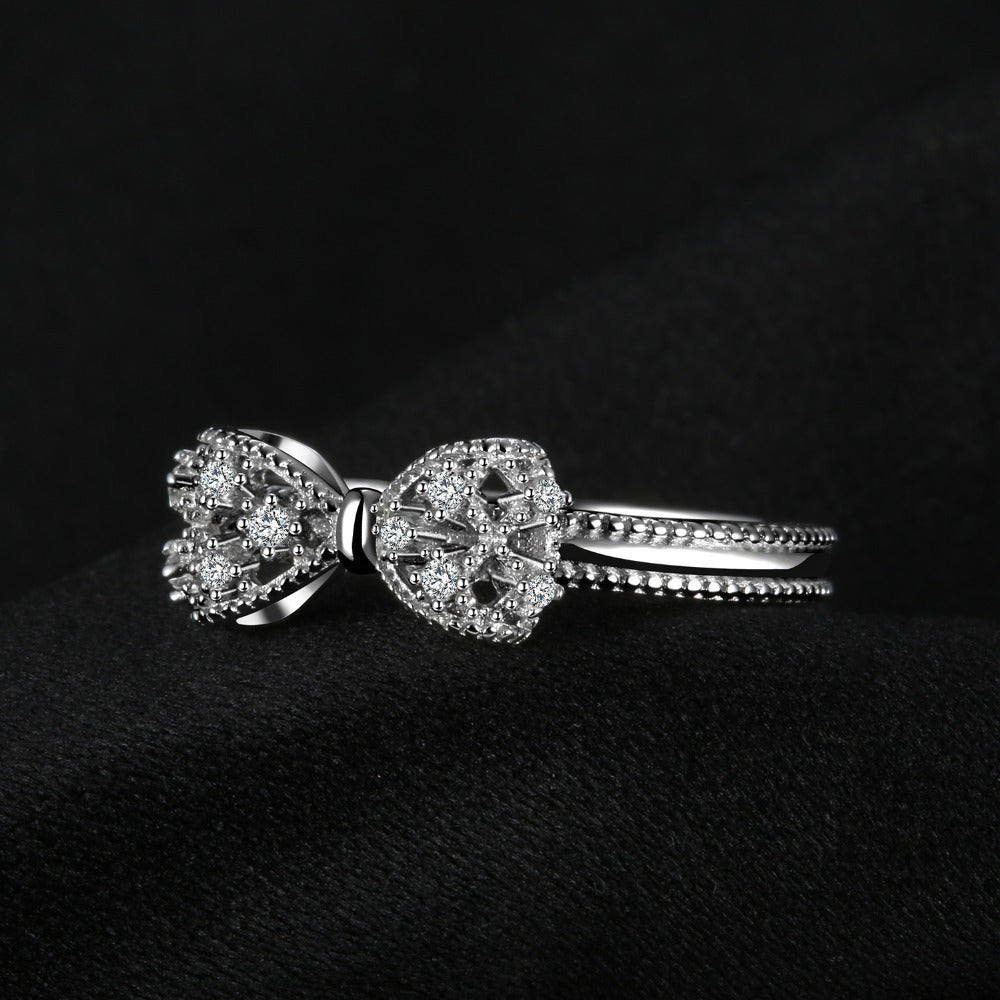 Silver and Zirconia Bow Ring