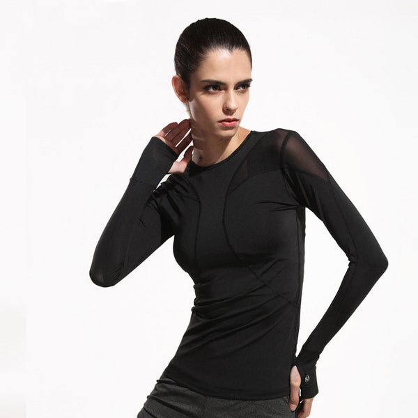 Long Sleeves Mesh Fitness T-shirt