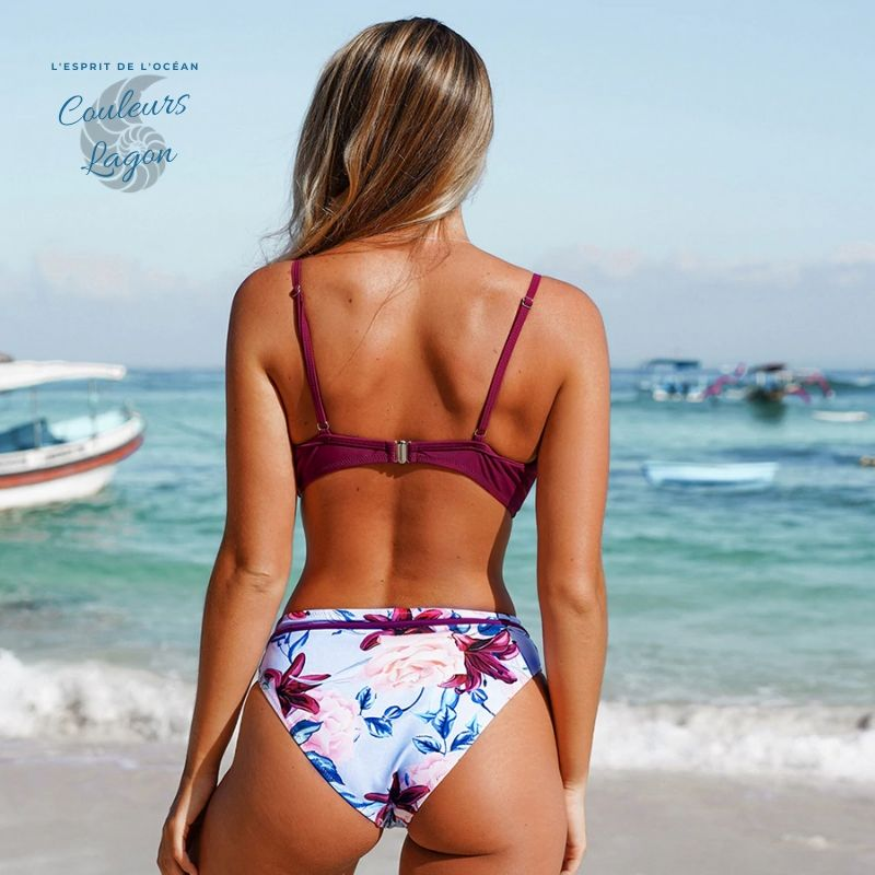Bikini Push Up Floral Croisé Magenta - Couleurs Lagon