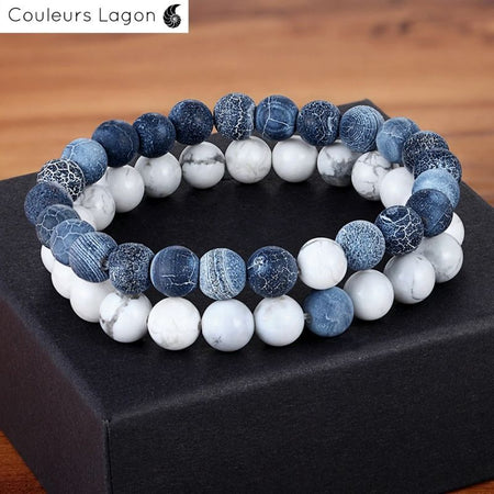 Couleurs Lagon - Bracelet Distance Couple Yoga en pierre naturelle - Océan