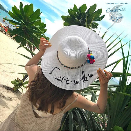Couleurs Lagon - Chapeau Paille Plage Dame I want to see the sea - Océan