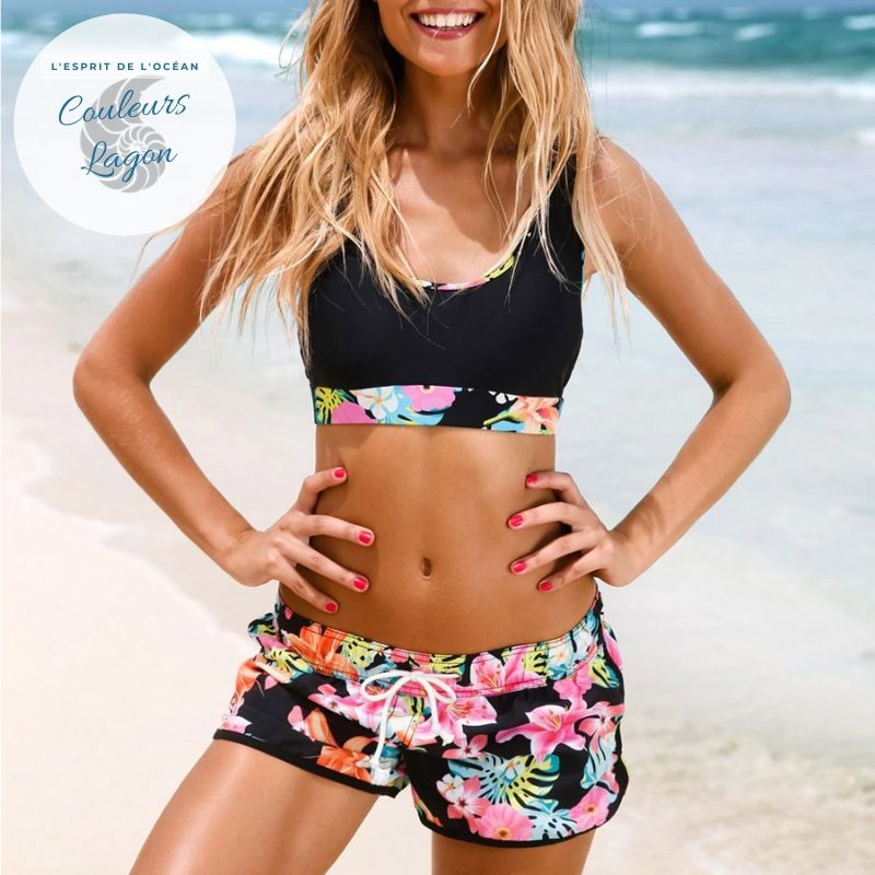 Ensemble Tankini Shorty Surf PINKLADY - Couleurs Lagon