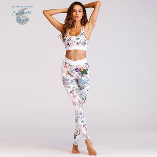 Couleurs Lagon - Ensemble Yoga Sport Top Leggings FLORAL BLANC - Océan