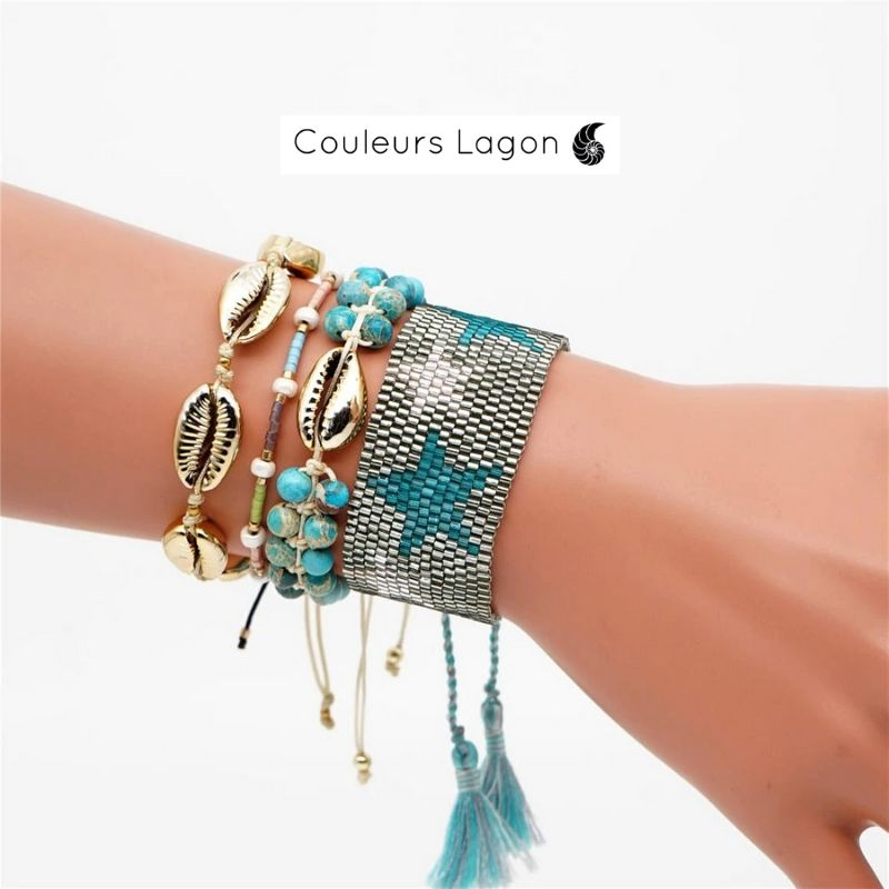 Ensemble Bracelet Coquillages Couleurs Lagon - Couleurs Lagon
