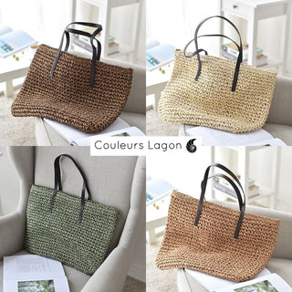 Grand Sac Rotin Bandoulière NATURE - Couleurs Lagon