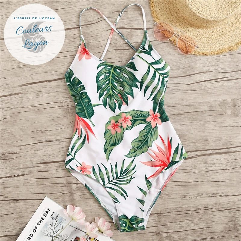 Monokini de natation tropical RIO - Couleurs Lagon
