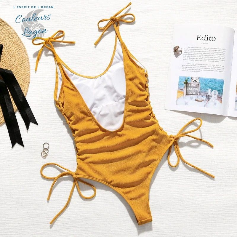 Couleurs Lagon - Monokini Sexy Push-Up Dos Nu CRISCROSS - Océan