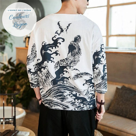 T-shirt Homme Dragon de mer WATATSUMI - Couleurs Lagon