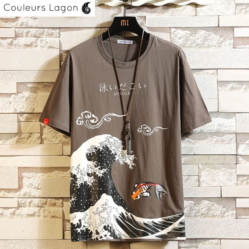 T-shirt Homme Grande Vague KANAGAWA - Couleurs Lagon