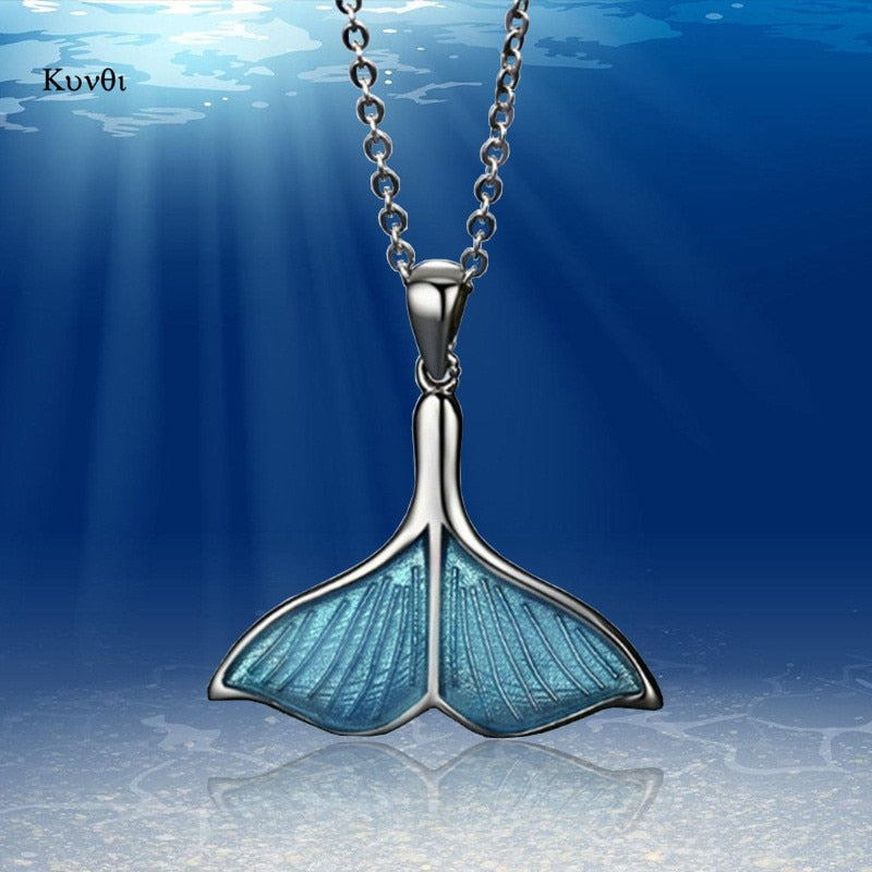 New Retro Women Whale Necklace BlueTail Fish Nautical Chokers Charm Mermaid Tail Pendant Necklace Sliver Jewelry For Women Girl - Couleurs Lagon