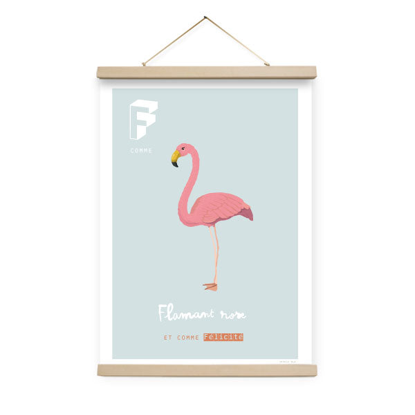Affiche F comme Flamant rose