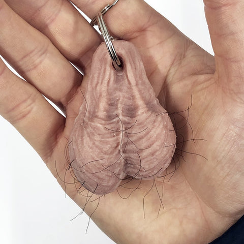 Mini Stress Hairy Testical Ball Sack Keyring