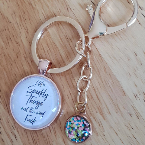 Image of I Like Sparkly Things & The Word Fuck Keyring