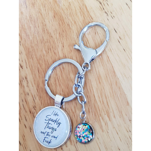 Image of I Like Sparkly Things & The Word Fuck Keyring-Far Kew Emporium