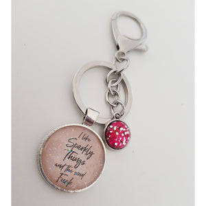 I Like Sparkly Things & The Word Fuck Keyring - Pink