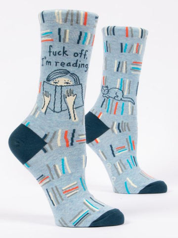 Image of Blue Q Fuck Off, I'm Reading Crew Socks