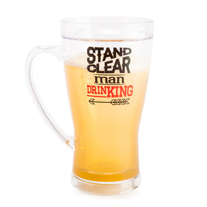 Stand Clear Man Drinking Icy Beer Mug