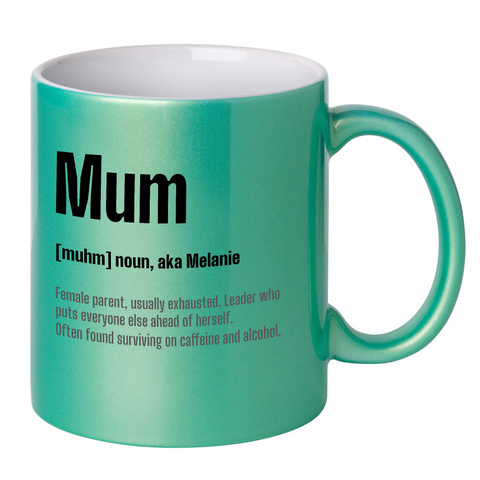 Image of Personalised Mum Dictionary Definition Glitter Mug (AUSSIE Version)