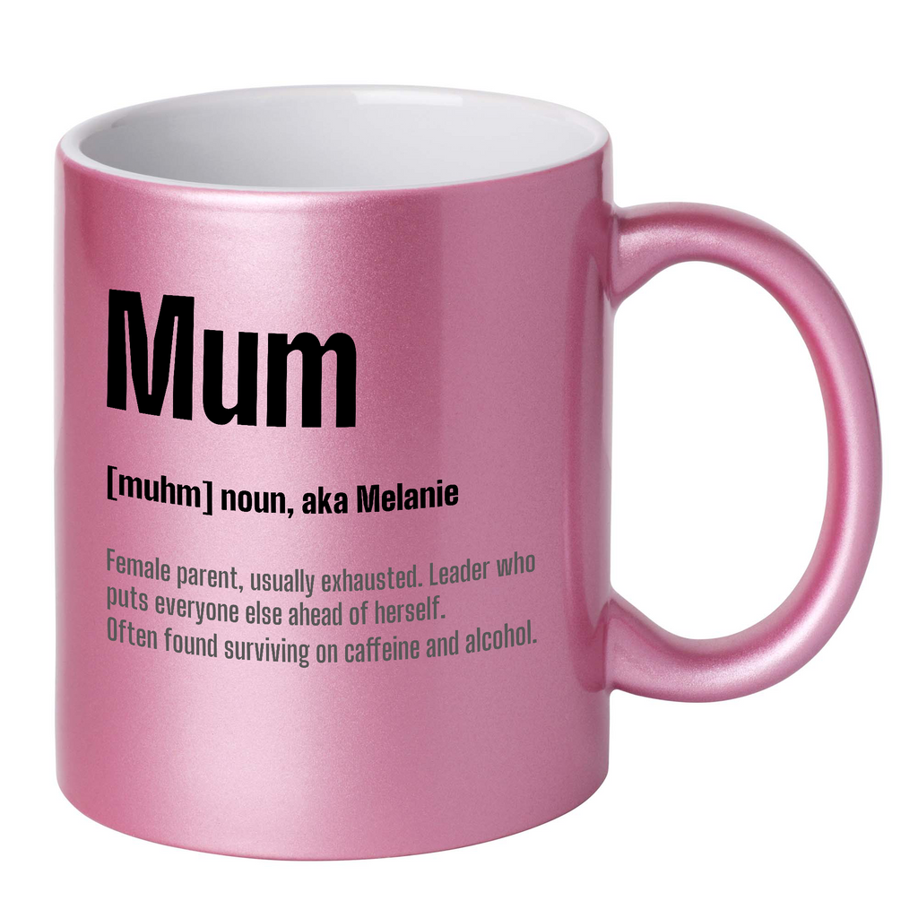Personalised Mum Dictionary Definition Glitter Mug (AUSSIE Version)