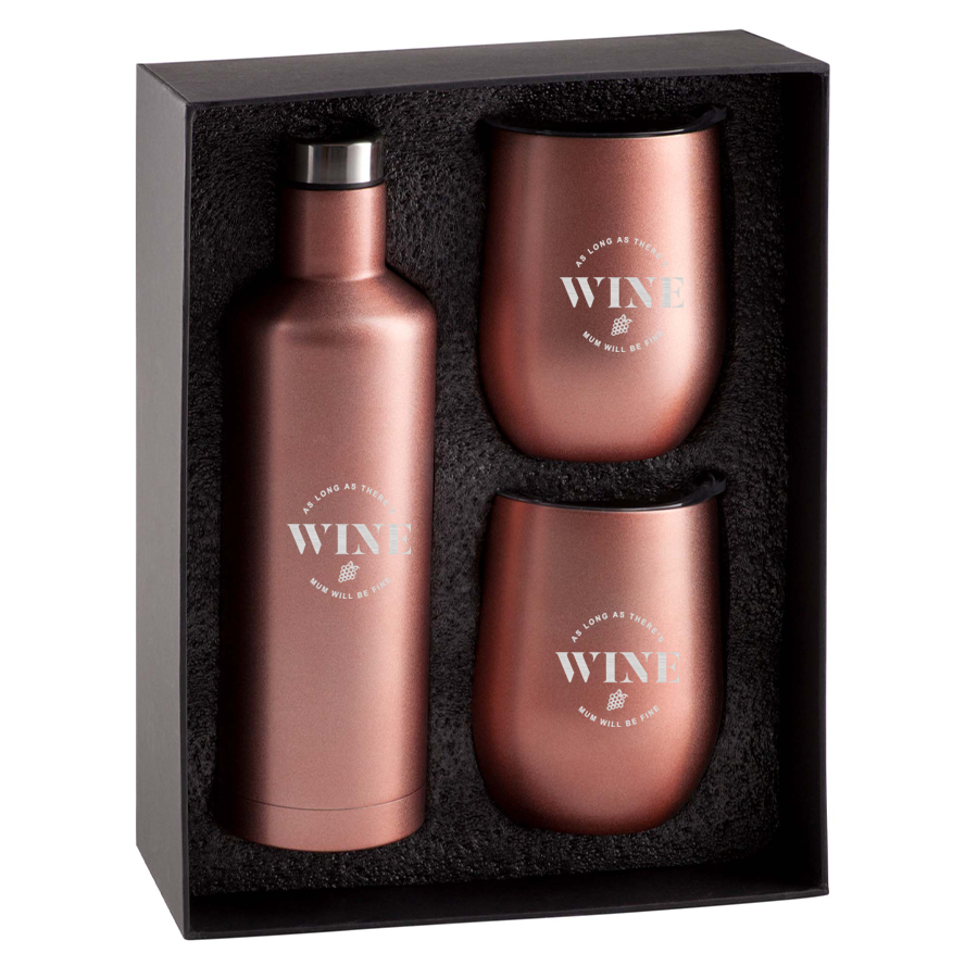 As Long As There's Wine Mum Will Be Fine Rose Gold Gift Set