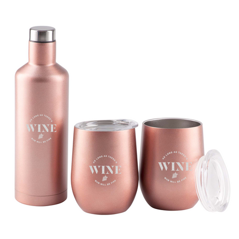 Image of As Long As There's Wine Mum Will Be Fine Rose Gold Gift Set