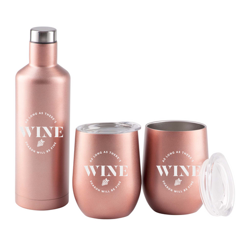 Image of As Long As There's Wine Rose Gold Gift Set