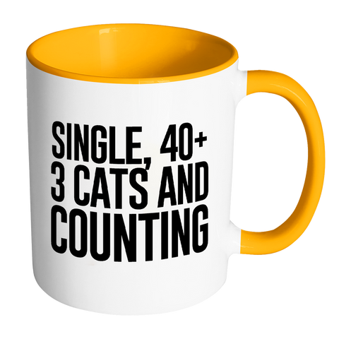 Image of Single, 40+, 3 Cats and Counting.-Drinkware-Far Kew Emporium