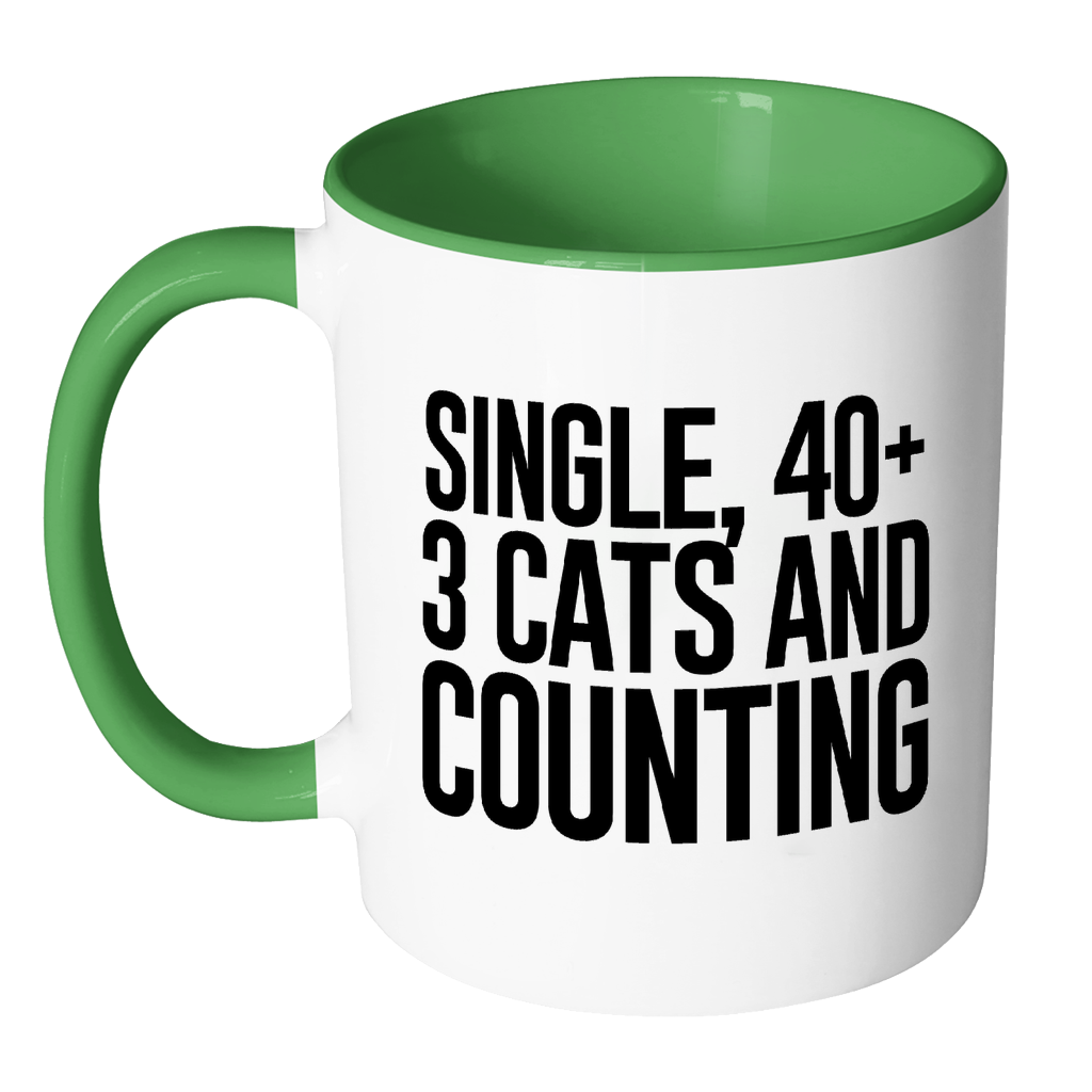 Single, 40+, 3 Cats and Counting.-Drinkware-Far Kew Emporium