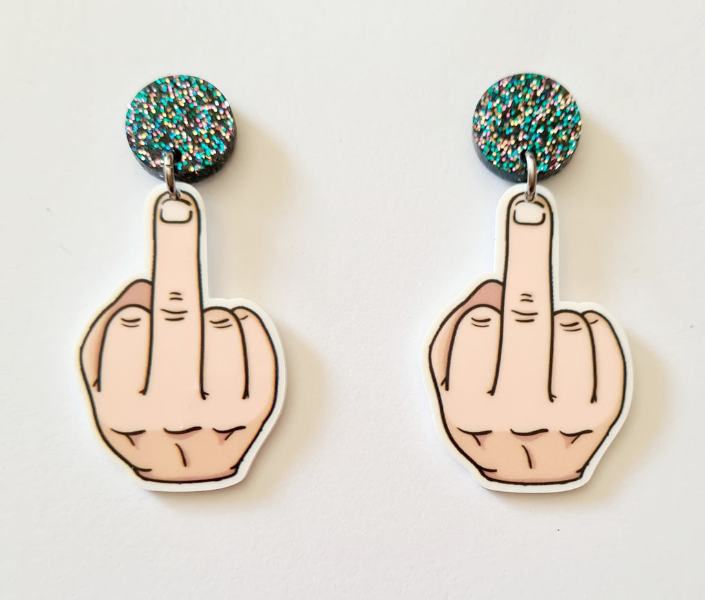 Fuck Off Middle Finger Glitter Earrings