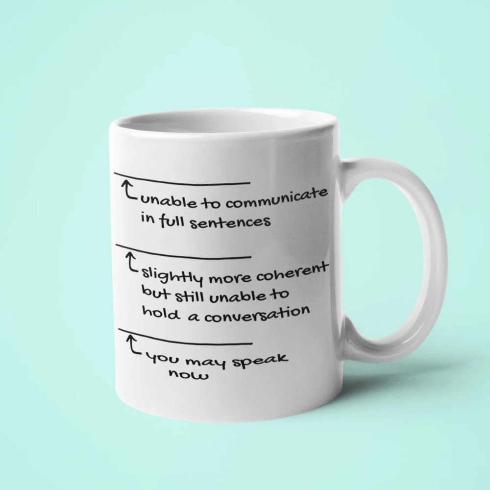 Can't Speak Without Coffee Mug